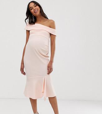 Asos DESIGN Maternity off shoulder textured midi dress