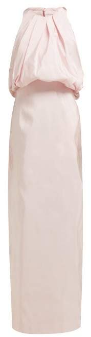 Calvin Klein Gathered Neck Silk Faille Gown - Womens - Light Pink