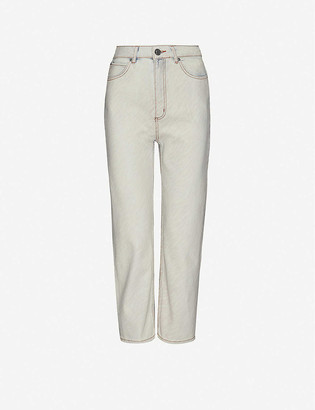 Sandro Zebran abstract-print tapered high-rise jeans