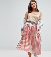 Asos Pleated Skirt In Metallic With Sports Waistband