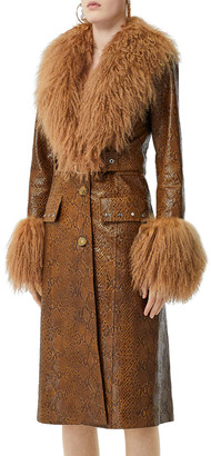 Burberry Shearling Trim Embossed Leather Coat
