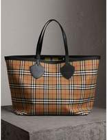 Burberry The Giant Reversible Tote in Vintage Check, Yellow