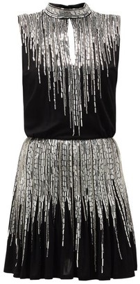 Balmain Sequinned Pleated Silk-crepe Mini Dress - Womens - Black Silver