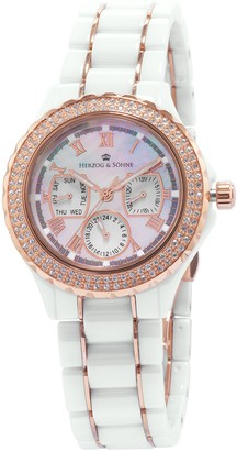 Herzog & Shne Herzog & Sohne Women's Quartz Watch with Mother of Pearl Dial Analogue Display and White Ceramic Bracelet HS202-586