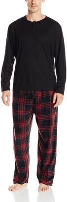 Essentials by Seven Apparel Men's Long Sleeve Pajama Set with Fleece Bottom