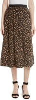 Tracy Reese Women's Dirndl Silk Floral Midi Skirt