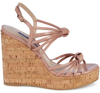 Stuart Weitzman Seascape Leather Cork Platform Wedge Sandals