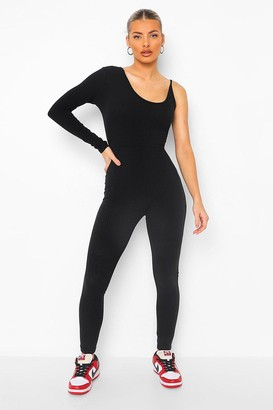 boohoo Rib One Sleeve Asymetric Unitard