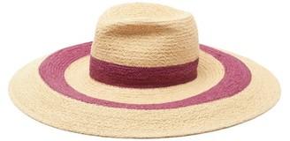 Lola Hats Vertigo Striped Raffia Hat - Burgundy Beige