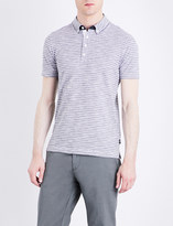 HUGO BOSS Slim-fit striped cotton-piqué polo shirt