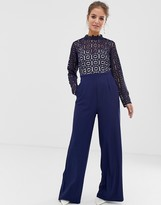Little Mistress cutwork lace top jumpsuit in navy