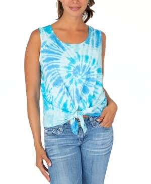 Rebellious One Juniors' Tie-Dyed Tie-Front Tank Top