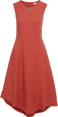 Brunello Cucinelli Asymmetric Bead-embellished Linen-blend Midi Dress