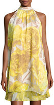 Eliza J Floral-Print Chiffon Halter Dress, Yellow/White