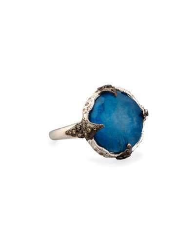 Armenta 16mm New World Milky Blue Quartz Triplet Ring with Diamonds