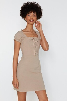 BEIGE Nasty GalNasty Gal Womens Strings Attached Lace-Up Dress 14,