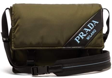 Prada Logo Nylon Messenger Bag - Womens - Khaki
