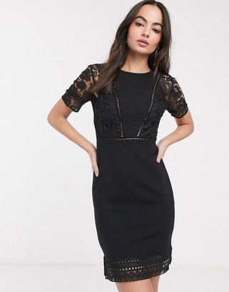 French Connection viola lula lace jersey short sleeve dress-Black