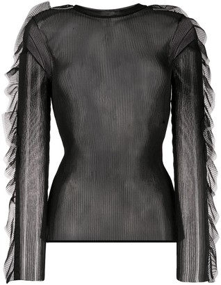 Comme des Garcons Sheer Ruffle Trim Knitted Top