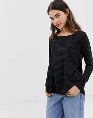 Ichi metallic stripe top-Black