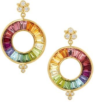 Temple St. Clair High 18K Yellow Gold, Diamond & Multi-Stone Color Wheel Halo Drop Earrings