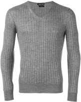 Tom Ford ribbed V-neck jumper - men - Silk/Cashmere - 52