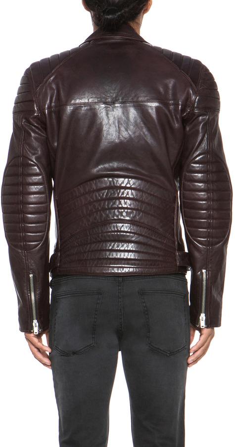 BLK DNM Padded Elbows Biker Jacket in Aubergine