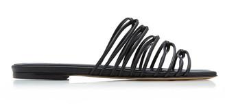 AEYDĒ Natasha Metallic Leather Sandals