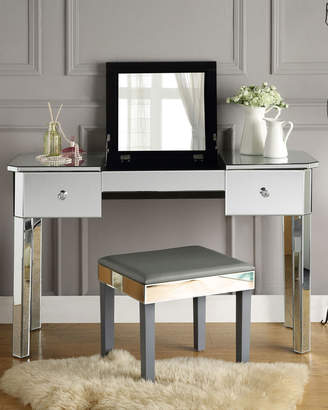 Inspired Home Mirrored Lift-Top Makeup Table