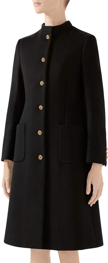 Gucci Wool Coat With Knot Buttons w/ Updated GG Back
