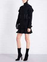 Alexander McQueen Turtleneck eyelet-detailed wool dress