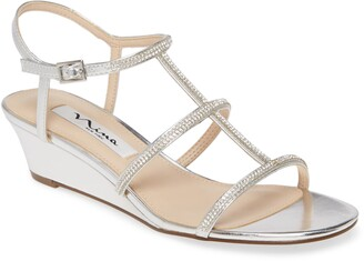 Nina Fiona Crystal Embellished Wedge Sandal