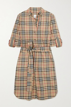 Burberry Net Sustain Belted Checked Cotton-blend Poplin Mini Dress