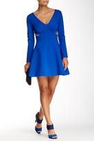 Halston Long Sleeve Side Cutout Mini Dress