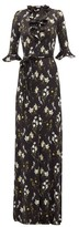 Erdem Farrell Floral-print Satin-jersey Dress - Womens - Black Print