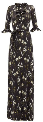 Erdem Farrell Floral-print Satin-jersey Dress - Womens - Black Print