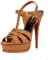 Saint Laurent Tribute Leather Platform Sandal, Bronze