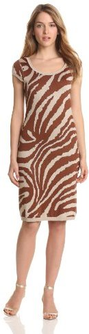 Anne Klein Women's Animal Intarsia Scoop Neck Dress