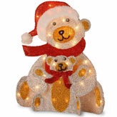 NATIONAL TREE CO National Tree Co. Whimsical Fabric Bear And Cub Animal Figurines