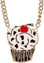 "Betsey Johnson Photo Etch"" Cupcake Oversized Pendant Frontal Necklace"