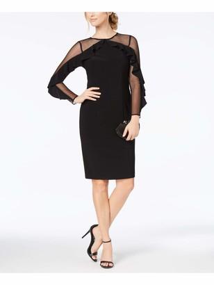R & M Richards R&M Richards Womens Black Long Sleeve Above The Knee Sheath Evening Dress Petites UK Size:18