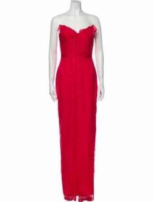Marchesa Notte Strapless Long Dress Red