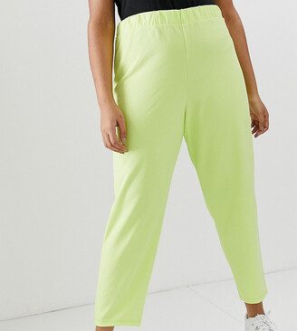 Asos DESIGN Curve pull on tapered trousers in jersey crepe-Green