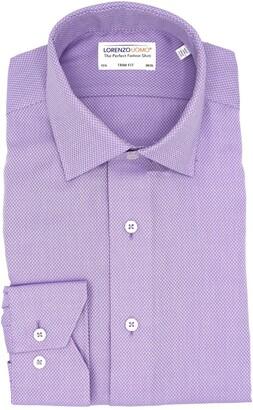 Lorenzo Uomo Textured Oval Non-Iron Trim Fit Dress Shirt