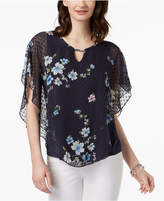 NY Collection Petite Swiss-Dot Sheer Poncho Top