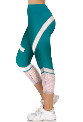 S2 Sportswear Women's Leggings Bayou - Bayou & White Mesh-Stripe Activewear Leggings - Women