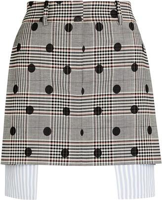 Monse Polka Dot Plaid Mini Skirt