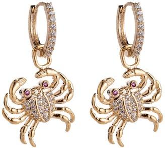 Eye Candy Los Angeles Lydia Pave CZ Crab Drop Huggie Hoop Earrings