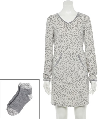 Croft & Barrow Women's Velour Sleepshirt & Socks Set
