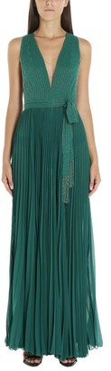 Elisabetta Franchi Pleated Beaded Gown